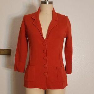 Orange Sweater Blazer Cardigan with Patch Pockets